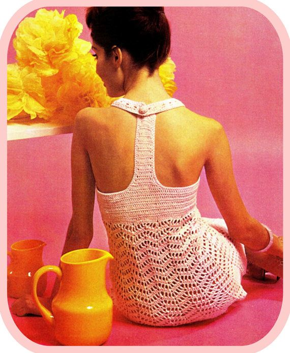Vintage 70s - CROCHET MINI Dress PDF Pattern for Wedding / Evening - Digital Download Pattern - UK This super cute 70s feminine Crochet Evening or