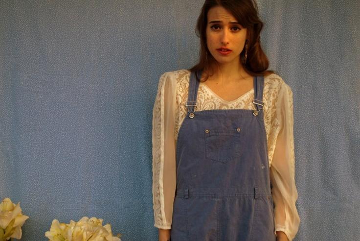 lace vintage blouse @ short salopette