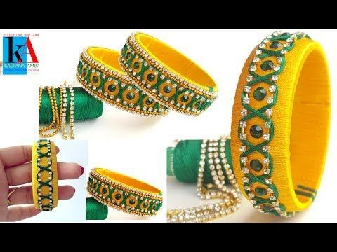 How to make designer Zigzag silk thread bangles | checker model designer silk thread bangles - YouTube