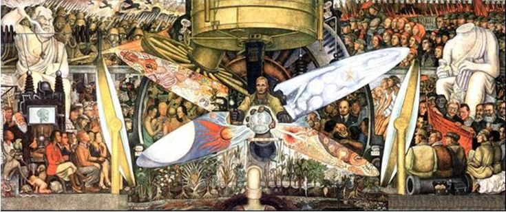 Man at the Crossroads by Diego Rivera. This was a fresco by Diego Rivera ( circa 1933) in the Rockefeller Center, New York. The painting was controversial because it included an image of Lenin.  It was hammered out of the wall!