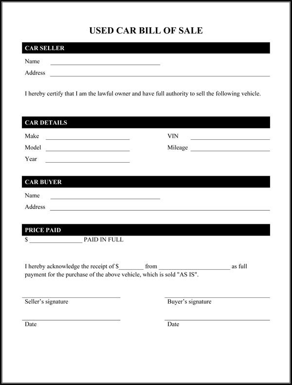 Printable Sample Car Bill Of Sale Form Laywers Template