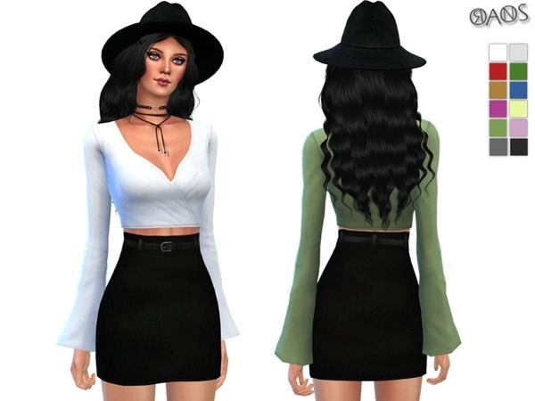 Wrapped Bell Sleeve Top by OranosTR at TSR via Sims 4 Updates