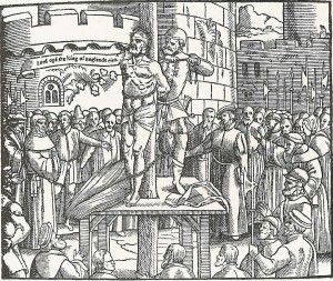 6 October, 1536 - William Tyndale's Execution: http://nblo.gs/10qSPQ IMAGE: A woodcut of Tyndale's execution from Foxe's Book of Martyrs (1563)