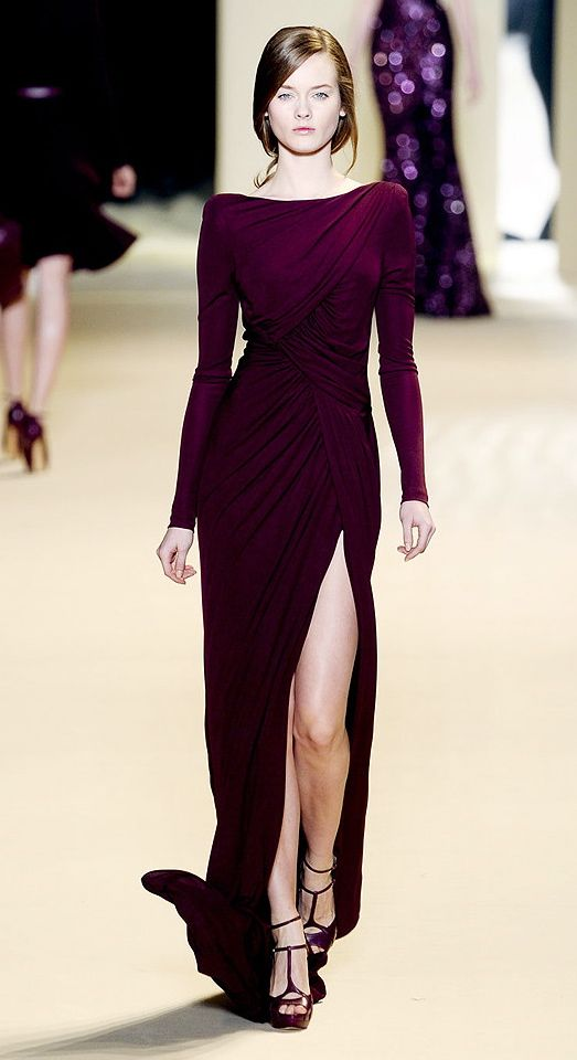 elie saab. Wine colored. Sew the slit up a bit more.