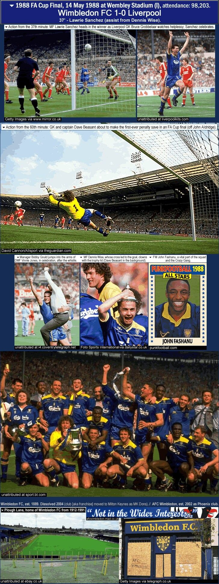Wimbledon 1 Liverpool 0 in May 1988 at Wembley. Action from the FA Cup Final.