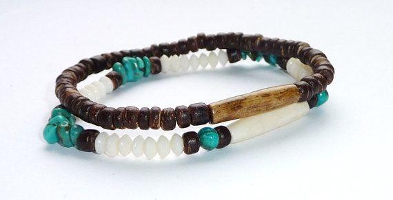 Bracelet for men Kenya Safari - coconut and bone - Handcrafted Gemstone Bracelet - Buffalo bone,Coconut Wood - Tribal,mens, for him, gift