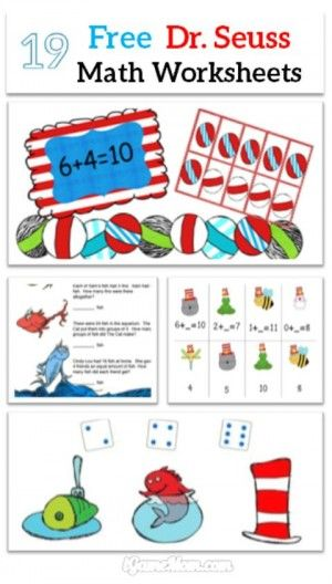 19 sets of free Dr Seuss themed math printable worksheets for kids from preschool, kindergarten to elementary and middle school.