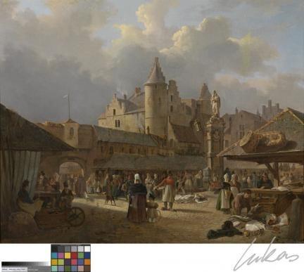 De oude vismarkt in Antwerpen - François Antoine Bossuet - KMSKA | Lukas
