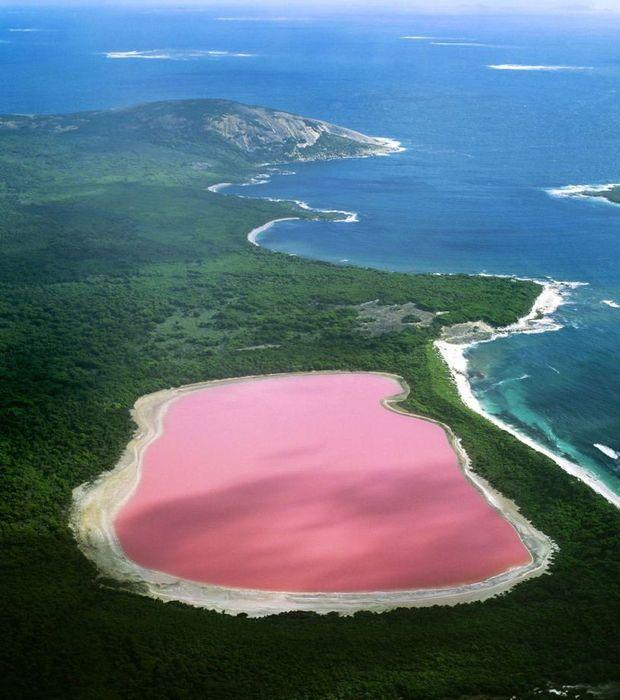 Australie : La couleur rose de l'eau du Lac Hillier toujours sans explication rationnelle depuis l'année de sa découverte en 1802 jusqu'à ce jour.