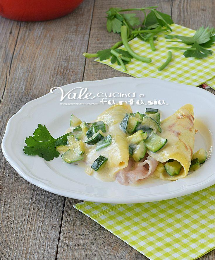 Crepes con zucchine e prosciutto cotto