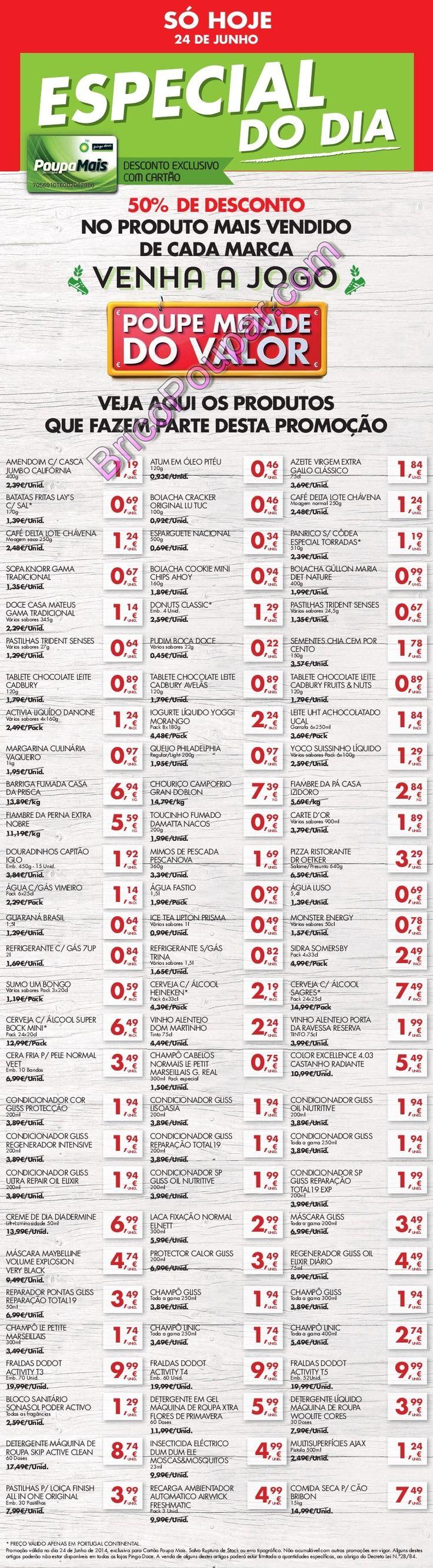 Lista visivel de 60 Produtos com desconto 50% desconto Pingo Doce - só dia 24 de Junho