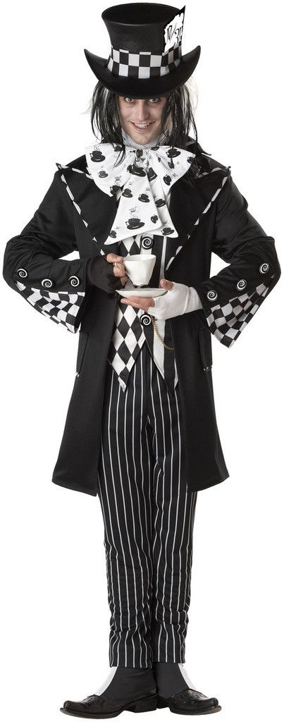 Dark Mad Hatter Adult Costume Includes: Jacket, vest, pants, top hat, dickey with bow tie, shoe covers and gloves. Does not include wig or shoes. Weight (lbs) 2.12 Length (inches) 16.5 Width (inches)