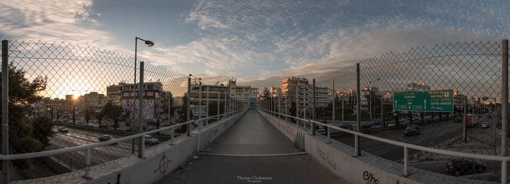 Above the Highway at the bridge in Nea Filadelfia, Athens.