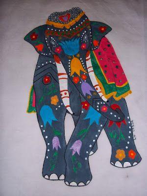 Elefante indiano pintado mão!