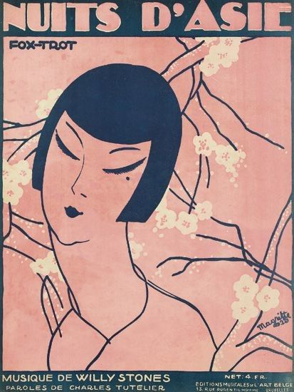 René Magritte, Nuits D'Adie/Fox - Trot. Sheet music cover, 1925, Éditions Musicales de l'Art Belge, Brussels.