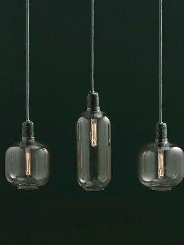 Lampa wisząca Amp - Podłużna złotozielony szkło/marmur - Simon Legald