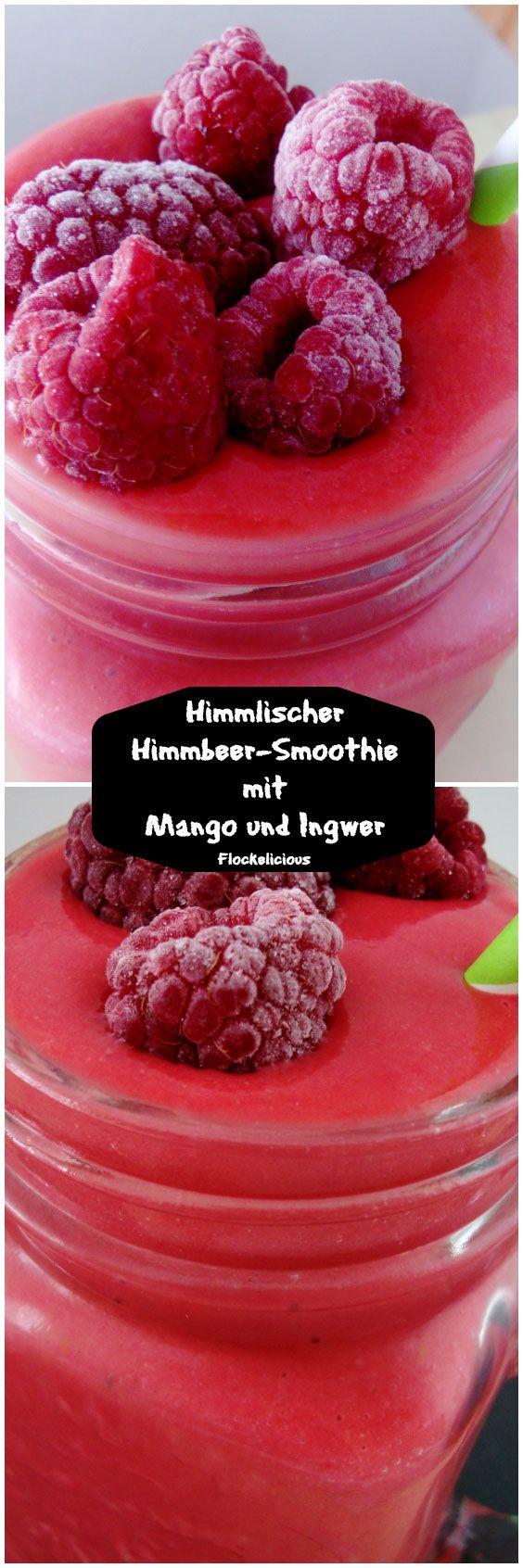 Himmlischer Himbeer Smoothier mit Mango und Ingwer Cremig, fruchtig, frisch und ohne zugesetzten Zucker