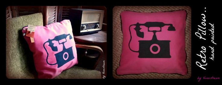 Decorative Retro Pillow - hand painted, with zipper / dimensions 50x50cm