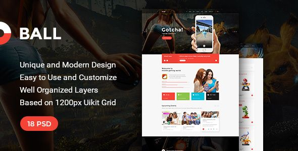 Ball - Multipurpose Portfolio/Event PSD Template by torbara  Ball is a clean and modern PSD Template for anyone who wants to build an amazing & modern portfolio, blog website. Also, you can
