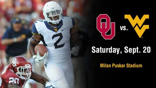 Date change on the WVU Football 2014 schedule.  WVU vs. Oklahoma home game is now Saturday, September 20th.  Mark your calendars!
