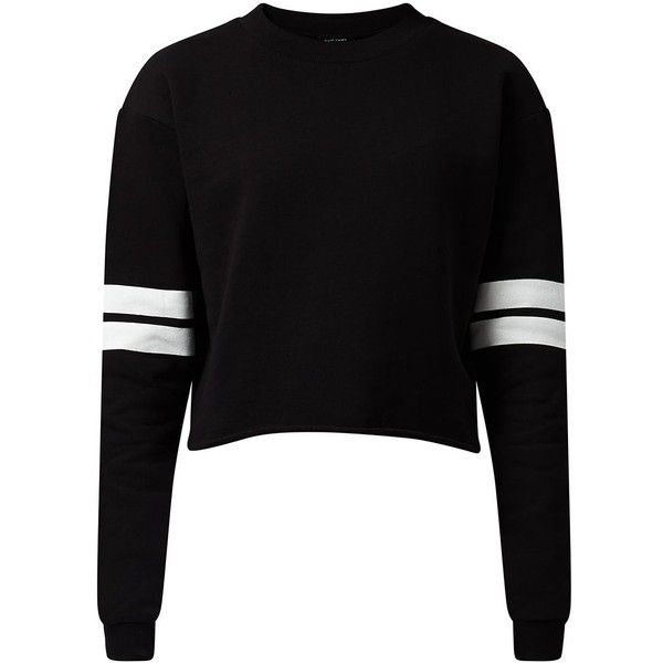 Black Striped Long Sleeve Cropped Sweater featuring polyvore, fashion, clothing, tops, sweaters, shirts, crop tops, jumpers, black, black shirt, long sleeve crop top, black sweater, cropped sweater and striped shirt