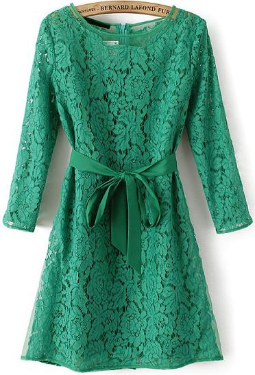 Green Long Sleeve Belt Lace Two Pieces Dress