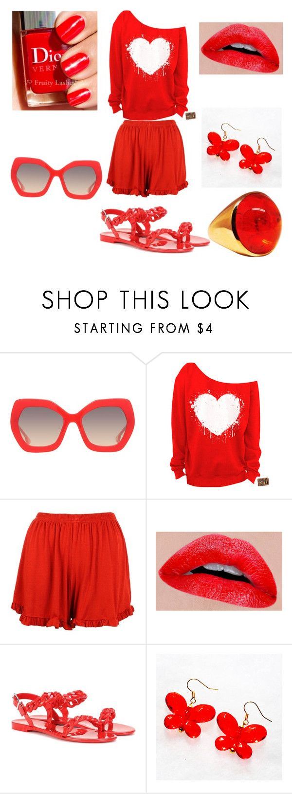 """""""One color for all (Red 2.0)"""" by cal-h-jones ❤ liked on Polyvore featuring Alice + Olivia, Boohoo and Givenchy"""