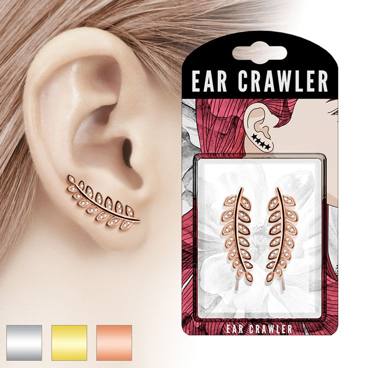 Good morning, From Our New Pair of CZ Paved Olive Leaf Prepacked Ear Crawler/Ear Climber #Wholesale #BodyJewelry #Piercing #Jewelry #BodyPiercing #EarCrawler #EarClimber  #Earrings