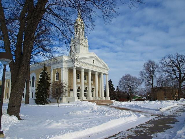 Appleton, Wisconsin, USA    Lawrence Chapel in winter.