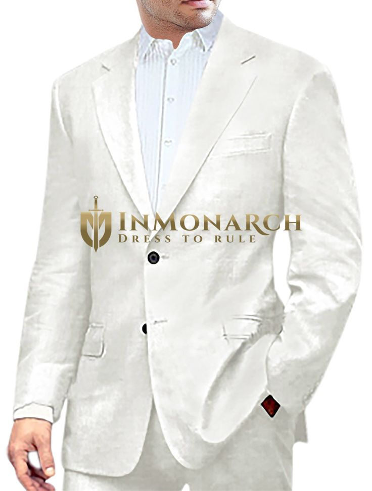 Mens White Linen Suit Classic Style Two Button
