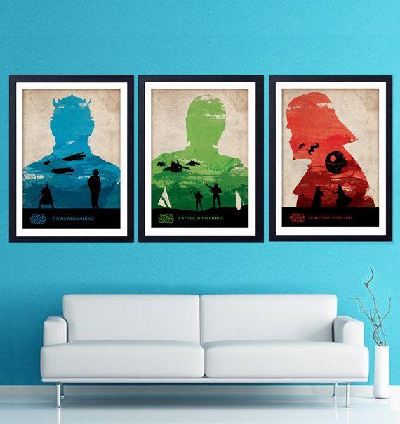 Vintage Star Wars Poster Set. The Phantom Menace by POSTERSHOT