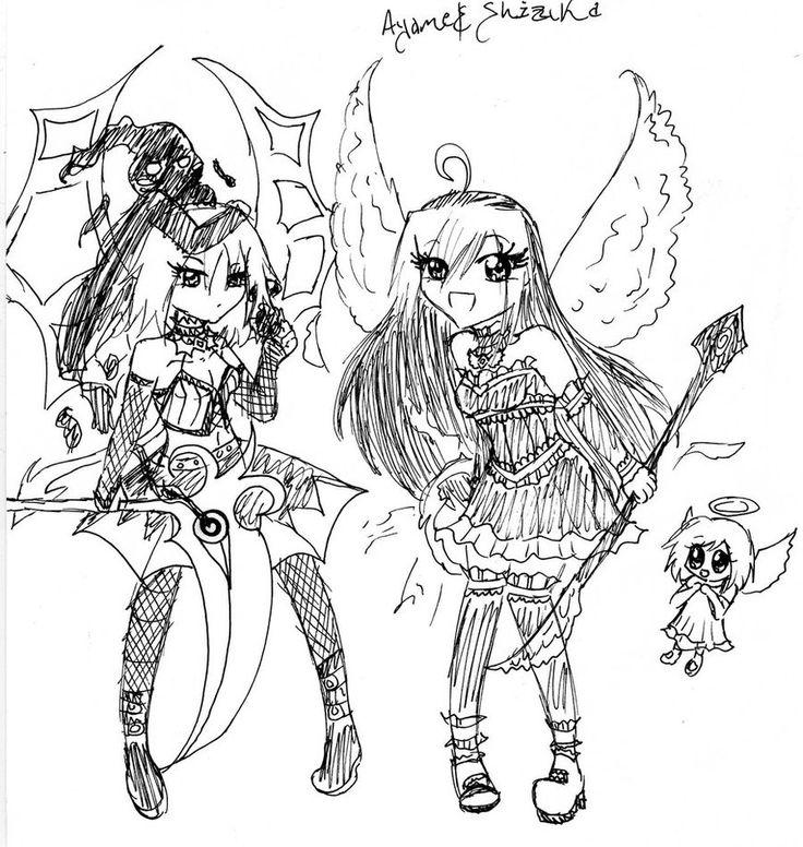 Chibi Angel and Devil by AyameKumori Demons Pinterest