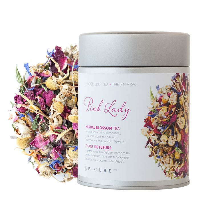 Pink Lady Herbal Blossom Tea: Rose petals, organic spearmint, a hint of hibiscus - and a sassy pink blush.