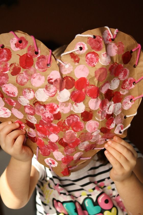 paper bag craft - simple Valentine craft for toddlers and preschoolers - puffy heart craft