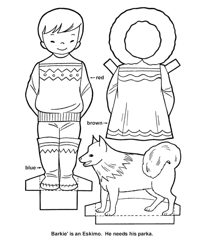 Inuit Paper doll with Parka and dog