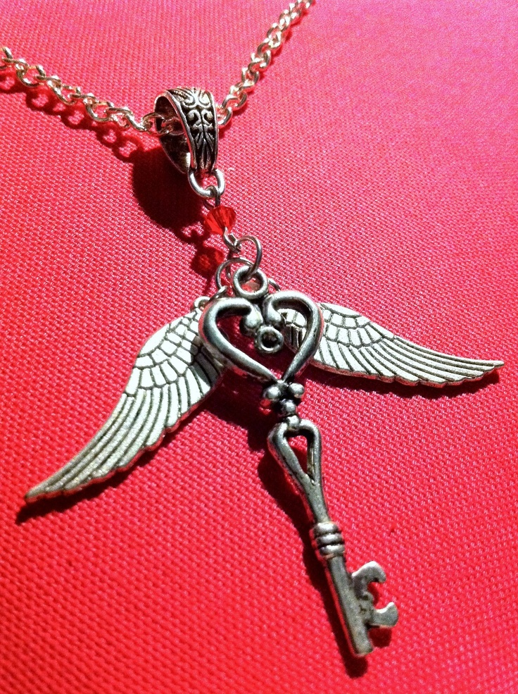 Silver Flying Heart Key Necklace Tibetan Silver Key And
