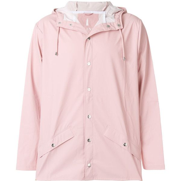 Rains classic raincoat ($115) ❤ liked on Polyvore featuring outerwear, coats, pink, pink coat, rains coat, pink rain coat, mac coat and pink raincoat