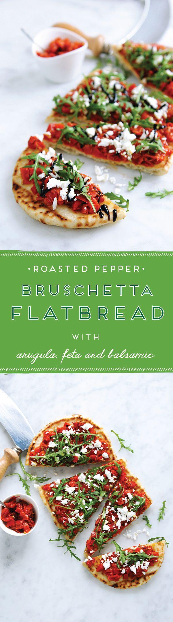 Delish! // Roasted Pepper Bruschetta Flatbread with Feta & Balsamic