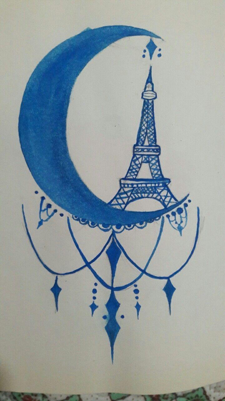 #moon #draw #dibujo #drawing #paris #eiffel #loveit ♡