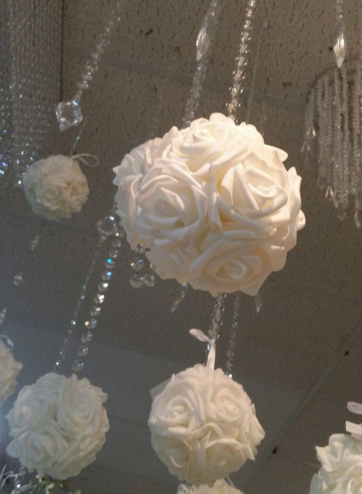 White Wedding Pomander, 5 Pomander Flower Balls, Flower Row marker, Aisle marker, Wedding Aisle Decoration, Kissing Ball, Wedding Chair Decoration, Flowers - Cake Toppers Boutique  - 5