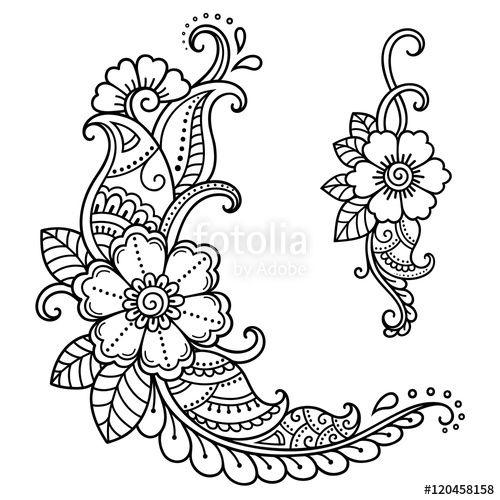 Vektör: Henna tattoo flower template. Mehndi style.Decorative pattern in oriental style.