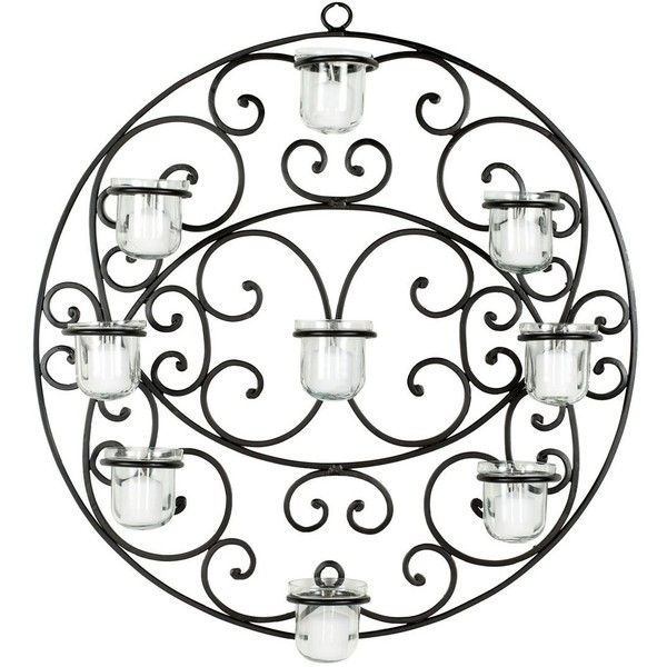 Safavieh Iron & Glass Votive Wall Decor ($95) ❤ liked on Polyvore featuring home, home decor, candles & candleholders, iron candle holders, glass votive candles, black home decor, black candle holders and ornate candle holder