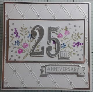 Here is the 4th card that you could make in the tomorrows workshop, stamps are by Stampin Up, I have used Number of Years and Flowering Fields, the cards are just waiting for some glitter.