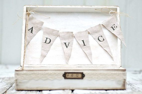 Lace Wedding Advice Box with Banner - Cottage Chic - Custom Color Options via Etsy