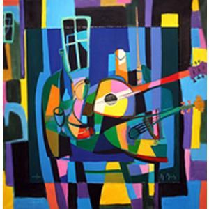 """Marcel Mouly (French, 1918-2008), """"Nature Morte Aux Deux Instruments"""", color lithograph, numbered and dated 2002"""