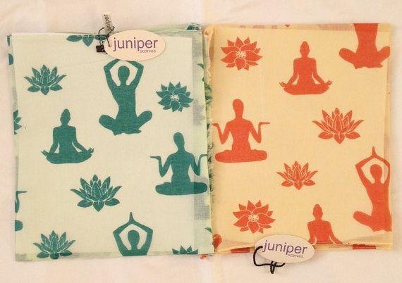 Yoga scarf  teal yoga scarf  apricot yoga scarf  in 100%