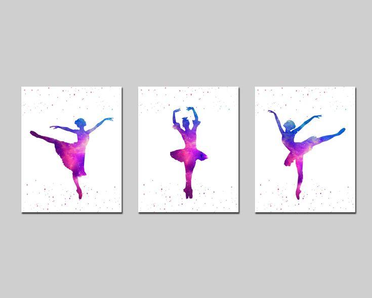 Ballerina watercolor nursery printable wall art set, girl room purple turquoise wall art, ballerina playroom wall decor download by AlexanderAndJJ on Etsy