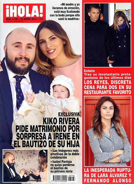 Exclusiva en ¡HOLA!, Kiko Rivera pide matrimonio por sorpresa a Irene en el bautizo de su hija