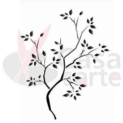 Stencil de Acetato para Pintura OPA 20 x 25 cm - 1235 Árvore Seca - CasaDaArte