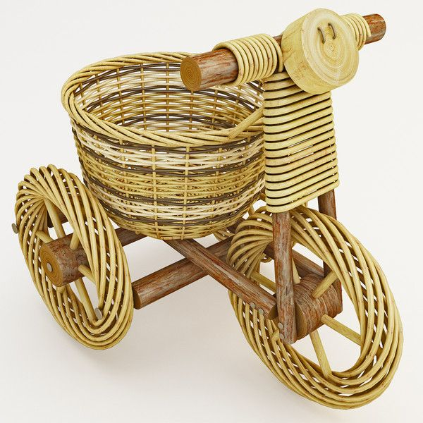 maya decorative wicker tricycle basket - Decorative Wicker Tricycle Basket... by 3d_molier